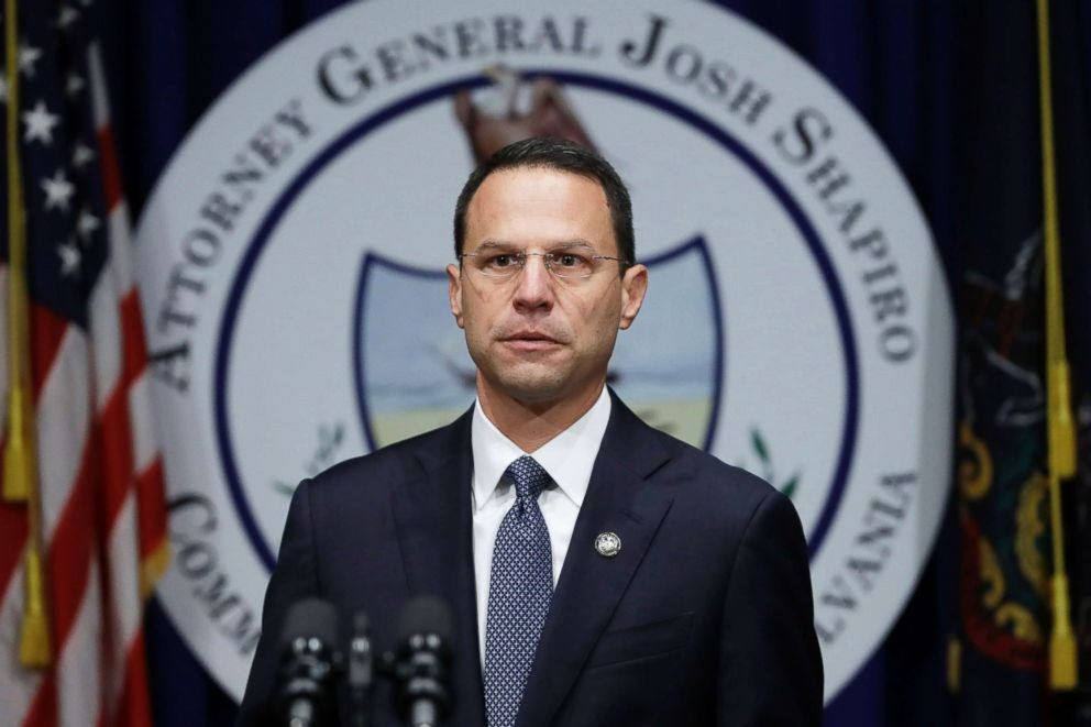 PHOTO: Pennsylvania Attorney General Josh Shapiro speaks about a grand jurys report on clergy abuse in the Roman Catholic Church during a news conference in Harrisburg, Pa., Aug. 14, 2018.