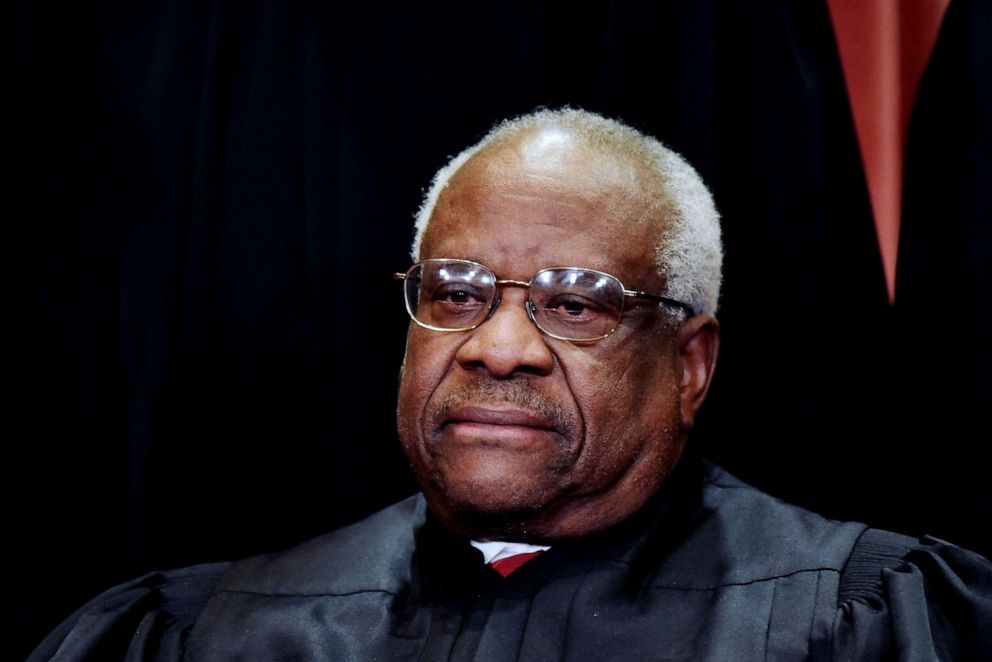 PHOTO: Associate Justice Clarence Thomas poses for the official group photo at the US Supreme Court in Washington, D.C., Nov. 30, 2018.