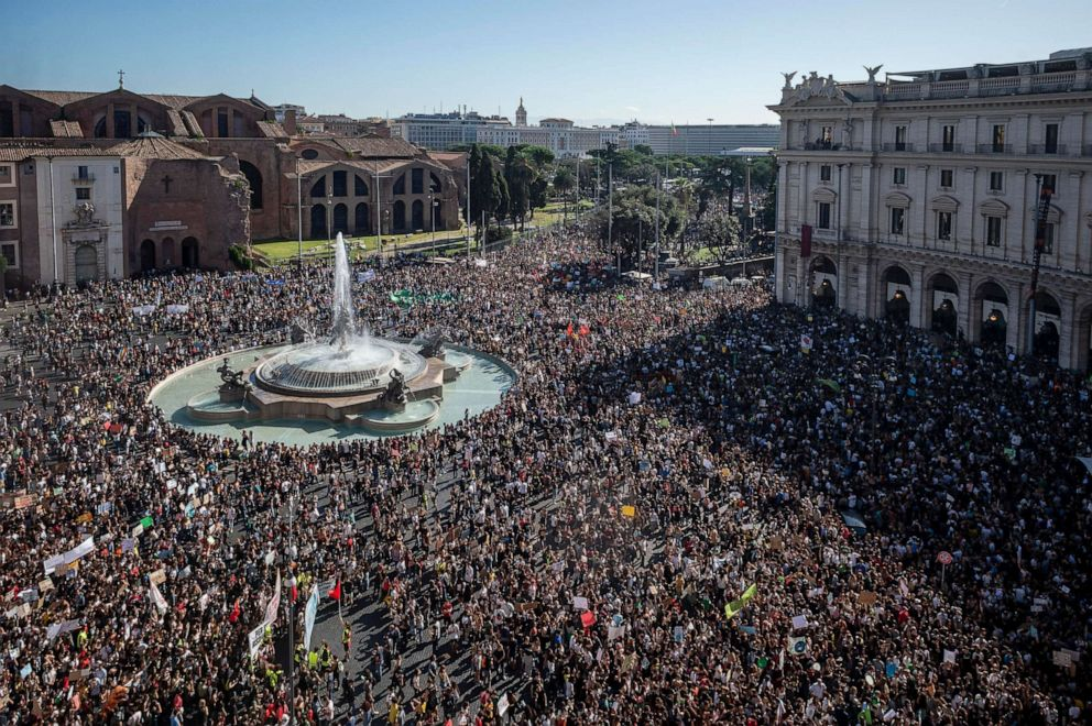 PHOTO: People take part in the climate march Fridays for Future, on September 27, 2019 in Rome, Italy.
