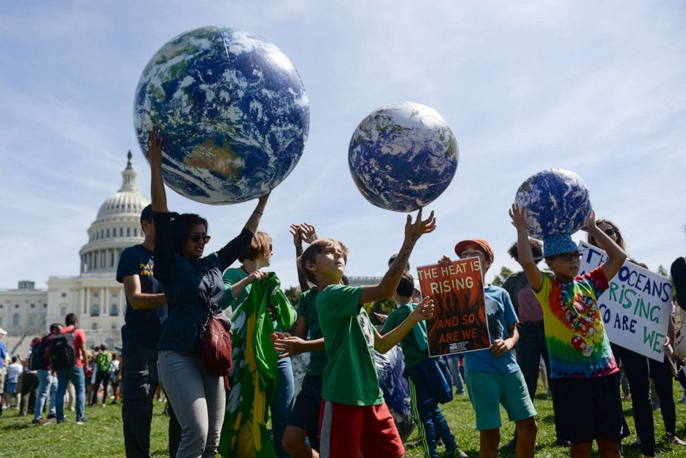 PHOTO: Young protesters participate in a rally near the U.S. Capitol as part of the D.C. Climate Strike March to demand action on climate change in Washington, September 20, 2019.