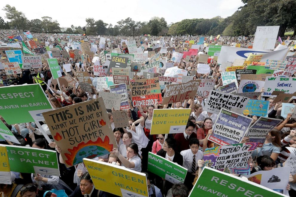 PHOTO: Thousands of protestors, many of them school students, gather in Sydney, Friday, Sept. 20, 2019, calling for action to guard against climate change.