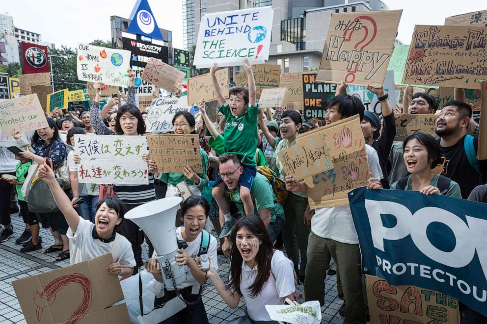 PHOTO: Participants gather at United Nations University prior to Global Climate Strike on September 20, 2019, in Tokyo, Japan.