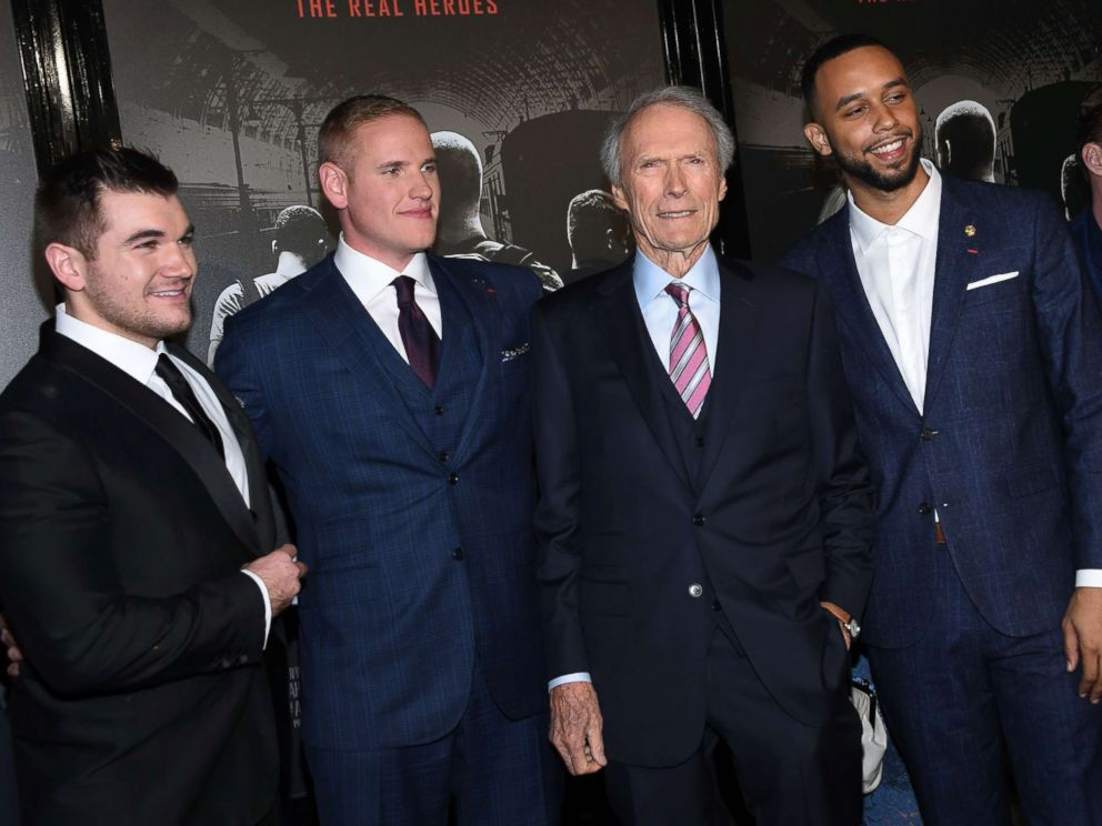 PHOTO: From left, Alek Skarlatos, Spencer Stone, director and producer Clint Eastwood and Anthony Sadler arrive for the world premiere of The 15:17 to Paris in Burbank, Calif., Feb. 5, 2018.