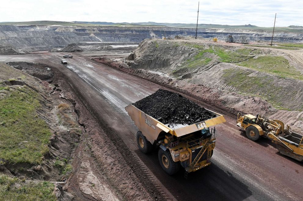 PHOTO: A truck loaded with coal at the Eagle Butte Coal Mine, May 8, 2017 in Gillette, WY.