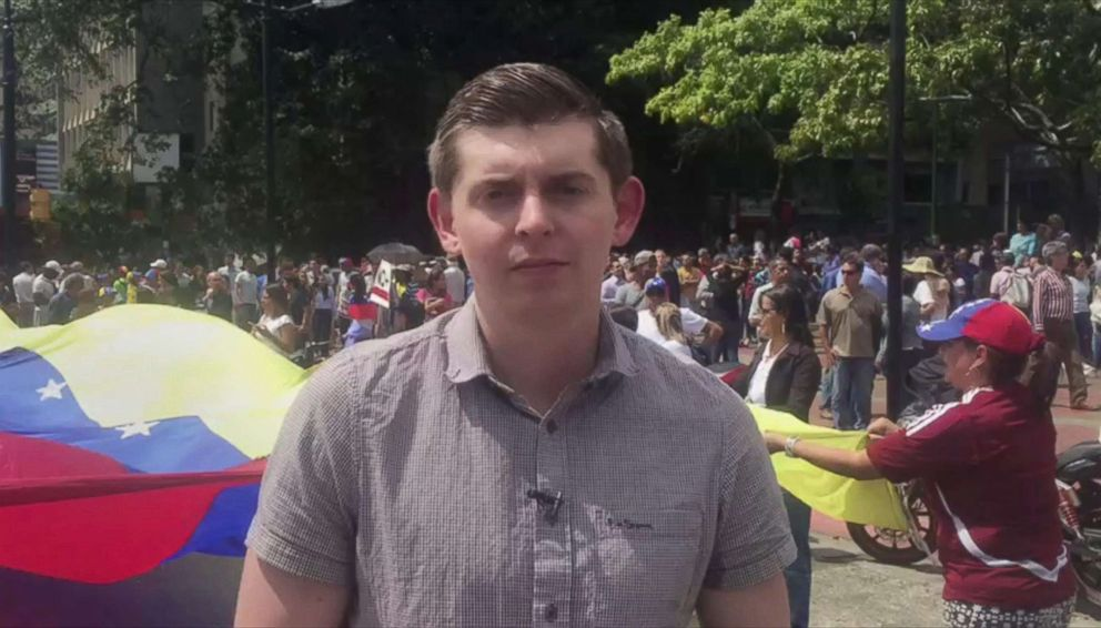 PHOTO: Reporter Cody Weddle reports for ABC News from Venezuela, Jan. 30, 2019.