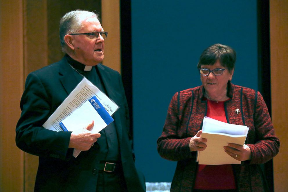 PHOTO: Archbishop Mark Coleridge, President of the Australian Catholic Bishops Conference in Australia, stands with Sister Monica Cavanagh, President of Catholic Religious Australia, during a media conference in Sydney, Aug. 31, 2018.