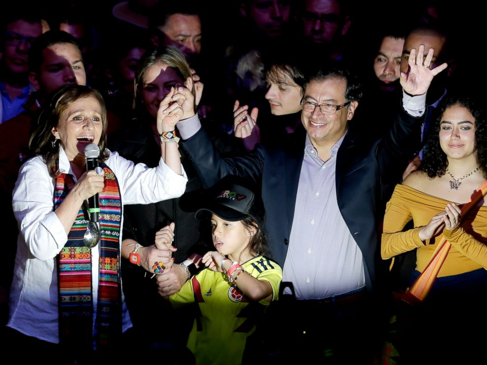 PHOTO: Gustavo Petro, presidential candidate for Colombia Humana, right, and his vice president formula Angela Robledo address supporters in Bogota, Colombia, May 27, 2018.  Deep polarization in Colombia leads to runoff in presidential elections Deep polarization in Colombia leads to runoff in presidential elections colombia election 2 ap er 180529 hpEmbed 4x3 992
