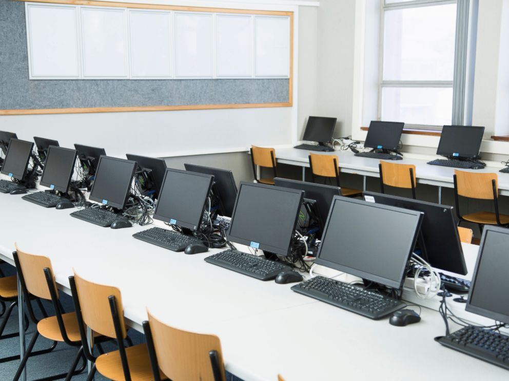 PHOTO: Empty classroom with rows of personal computers on desk pictured in this undated stock photo.  Algeria orders total shutdown of internet during high school exam period computers gty thg 180621 hpMain 4x3 992