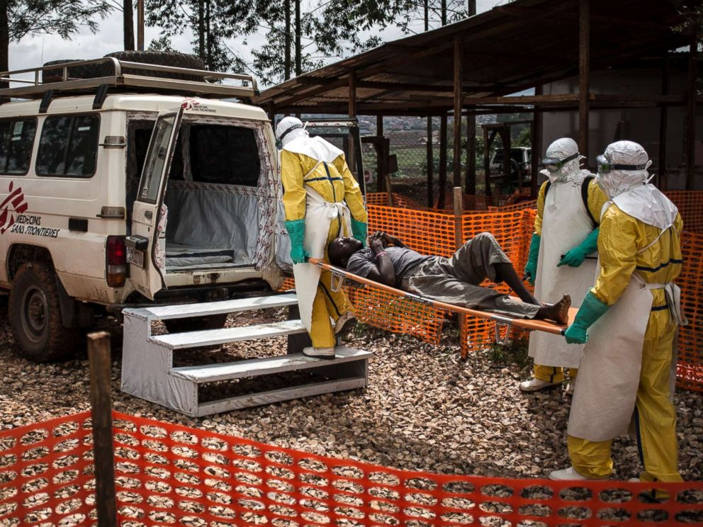 PHOTO: Health workers move a patient to a hospital after he was cleared of having Ebola inside of a Medecins Sans Frontieres supported Ebola treatment center in Butembo, Congo, Nov. 4, 2018.