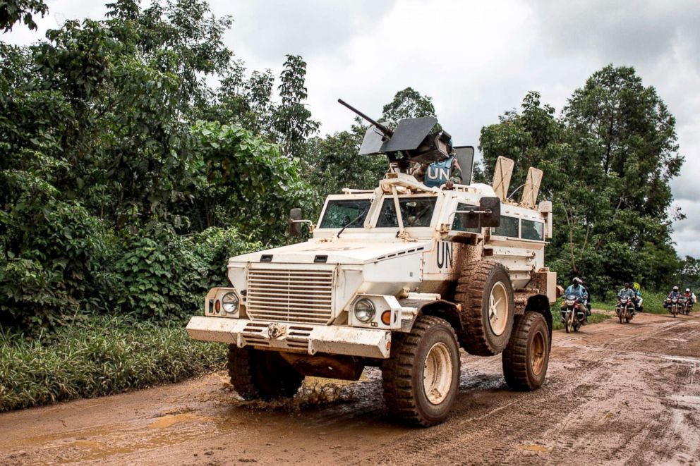 PHOTO: A military truck for the United Nations Organization and Stabilization Mission in the Democratic Republic of the Congo (MONUSCO) patrols the road linking Beni to Mangina, Aug. 23, 2018, in the Democratic Republic of the Congo.