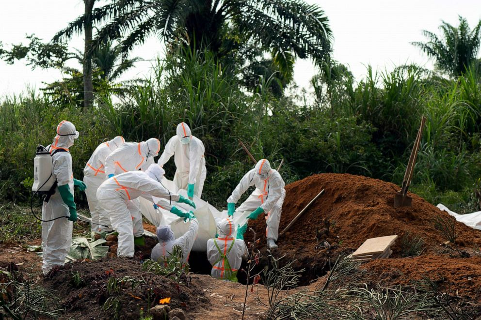 PHOTO: An Ebola victim is buried at a cemetery in Beni, Democratic Republic of Congo, July 14, 2019.