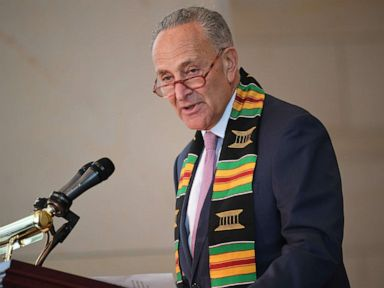 PHOTO: Chuck Schumer speaks at the Congressional Black Caucus (CBC) ceremony to commemorate the 400th anniversary of the first recorded forced arrival of enslaved Africans in the Emancipation Hall of the US Capitol in Washington, D.C., Sept. 10, 2019.
