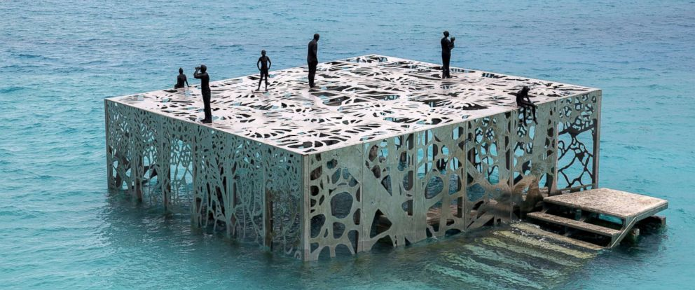 PHOTO: Artist and environmental sculptor Jason deCaires Taylor has created a semi-submerged tidal gallery exhibiting a number of artworks designed to evolve over time as they are colonized by algae, called Coralarium, Aug 14, 2018, in the Maldives.