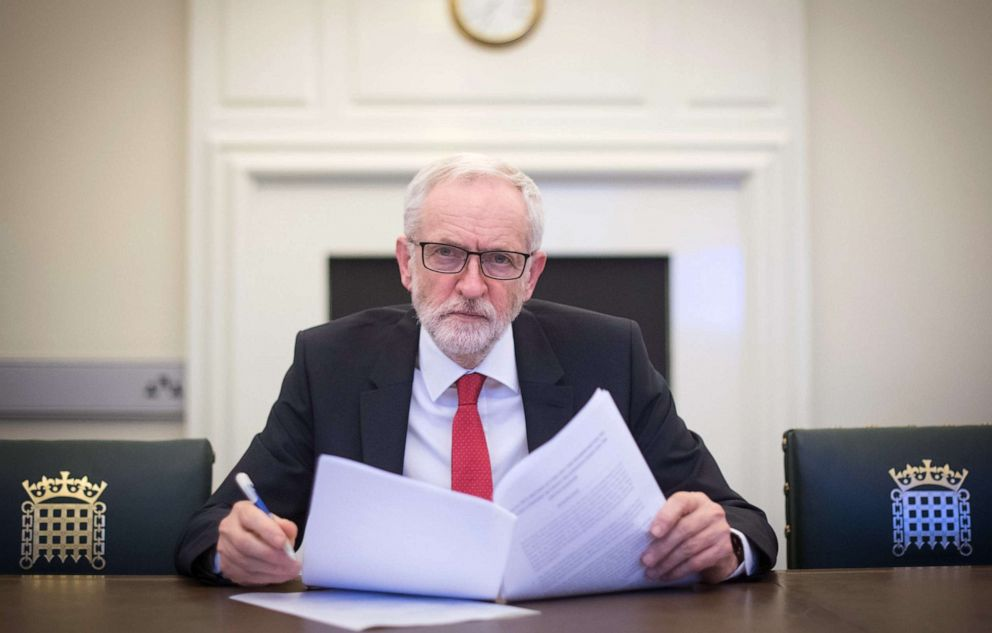 PHOTO: Labour leader Jeremy Corbyn poses with the Political Declaration setting out the framework for the future UK-EU relationship, in his office in the Houses of Parliament on April 2, 2019 in London, England.