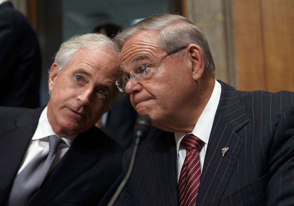 PHOTO: Sen. Bob Corker, left, chairman of the Senate Foreign Relations Committee, talks with with ranking member Sen. Bob Menendez, prior to a committee meeting April 23, 2018 on Capitol Hill in Washington, D.C.