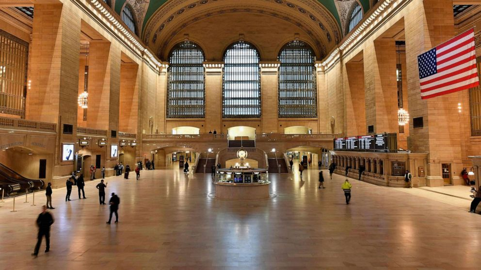 PHOTO: The usually busy Grand Central Station is seen nearly empty on March 25, 2020 in New York City.