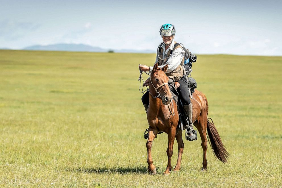 PHOTO: Robert Long, known by the nickname Cowboy Bob, who is the oldest winner of Mongol Derby, the 1,000 km worlds longest horse race, sits on his horse near Jargalt, Mongolia, Aug. 14, 2019.
