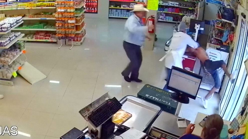 Man wearing cowboy hat tackles would-be armed robber at store in Mexico.