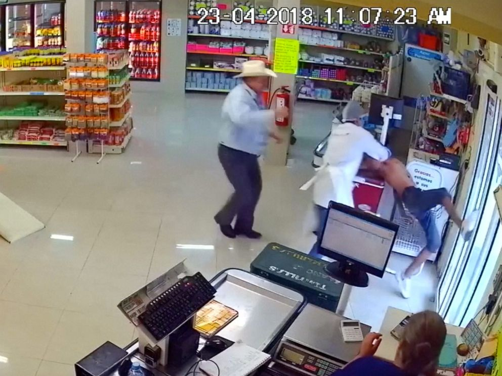 PHOTO: Man wearing cowboy hat tackles would-be armed robber at store in Mexico.