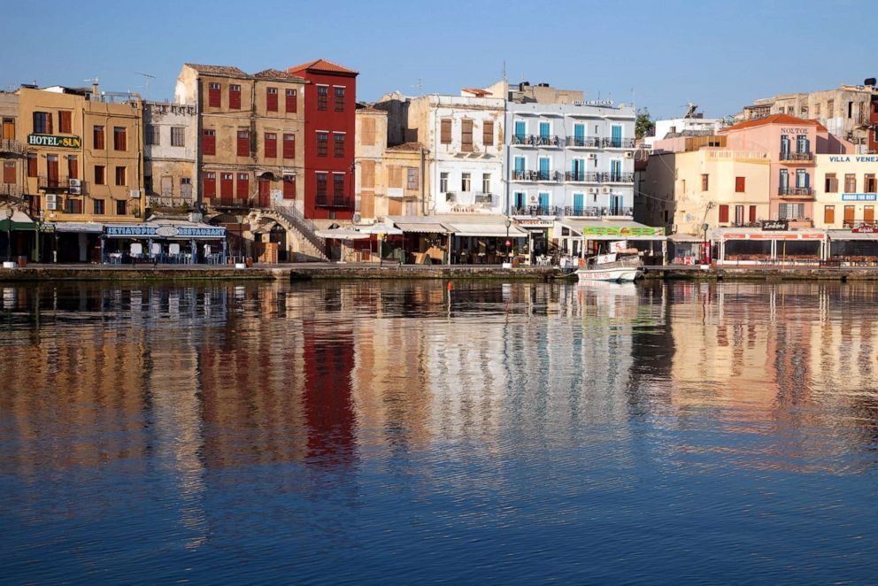 PHOTO: Old Harbor reflects in water, Chania, Crete, Greece