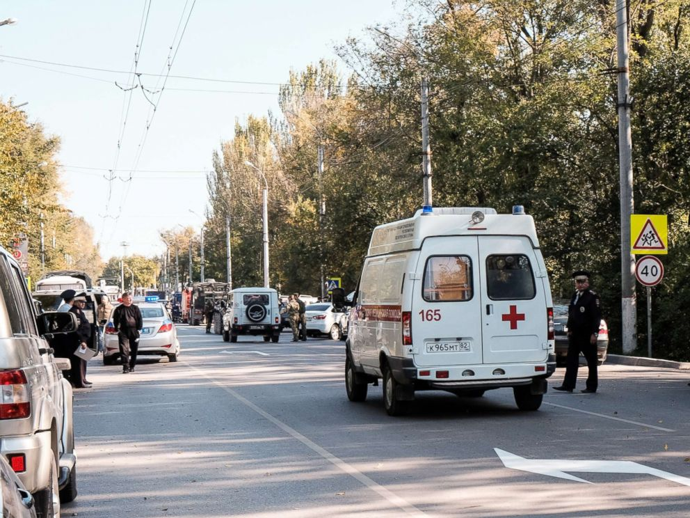 PHOTO: An ambulance near the building of the Kerch Polytechnic Vocational School where there was an explosion, Oct. 17, 2018, in the city of Kerch, Crimea, Russia.