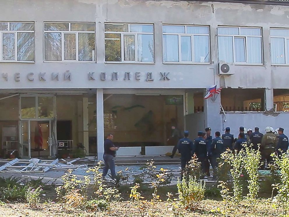 PHOTO: The site of a bomb blast at a college in the Crimean city of Kerch, Oct. 17, 2018, in Crimea, Russia.