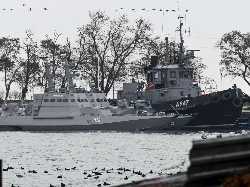 PHOTO: Three Ukrainian ships are seen as they are docked after being seized on Nov. 25, 2018, in Kerch, Crimea, Nov. 26, 2018.
