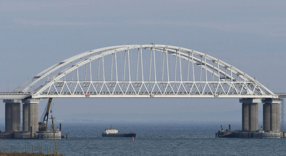 PHOTO: The Kerch Bridge span is open for the passage of ships, near Kerch, Crimea, Nov. 26, 2018.
