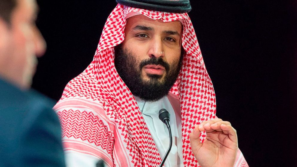 Saudi Crown Prince Mohammed bin Salman speaks during a joint session of the Future Investment Initiative (FII) conference in the capital Riyadh,  Oct. 24, 2018.