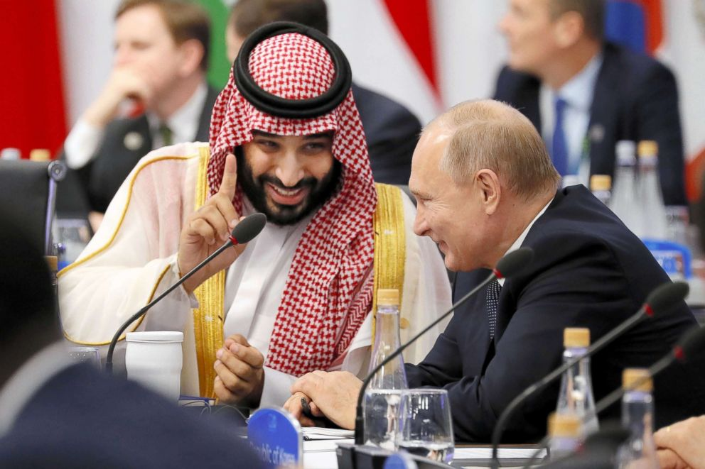 PHOTO: Crown Prince Mohammad bin Salman of Saudi Arabia and Russian President Vladimir Putin talk during the Argentina G20 Leaders Summit 2018 at Costa Salguero, Nov. 30, 2018, in Buenos Aires.