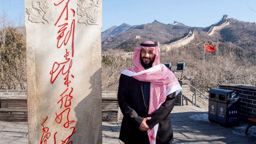 Saudi Arabia's Crown Prince Mohammed bin Salman poses for camera during his visit to Great Wall of China in Beijing, Feb. 21, 2019.