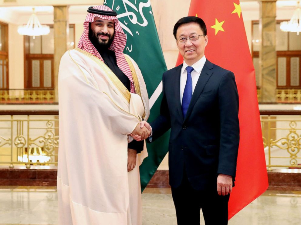 PHOTO: Chinese Vice Premier Han Zheng, right meets with Mohammed bin Salman Al Saud, Saudi Arabias crown prince, deputy prime minister and minister of defense, in Beijing, Feb. 22, 2019.