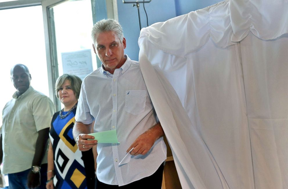 PHOTO: Cubas first Vice-President Miguel Diaz-Canel, votes in Santa Clara, Cuba, during an election to ratify a new National Assembly, March 11, 2018.