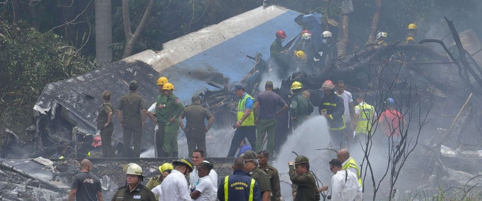 PHOTO: The scene of the accident after a Cubana de Aviacion aircraft crashed after taking off from Havanas Jose Marti airport on May 18, 2018 in Cuba.