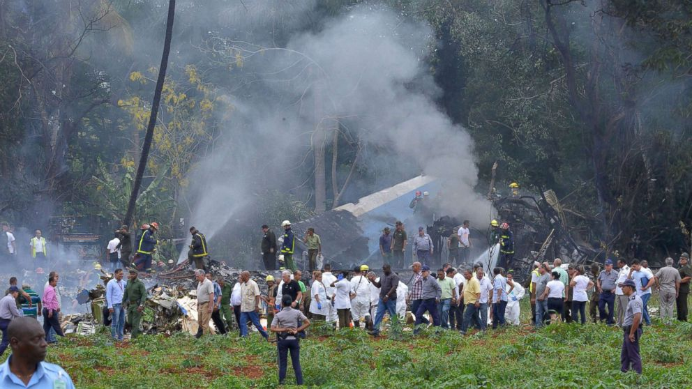 The scene where a Cubana de Aviacion aircraft crashed after taking off from Havana's Jose Marti airport, May 18, 2018 in Cuba.