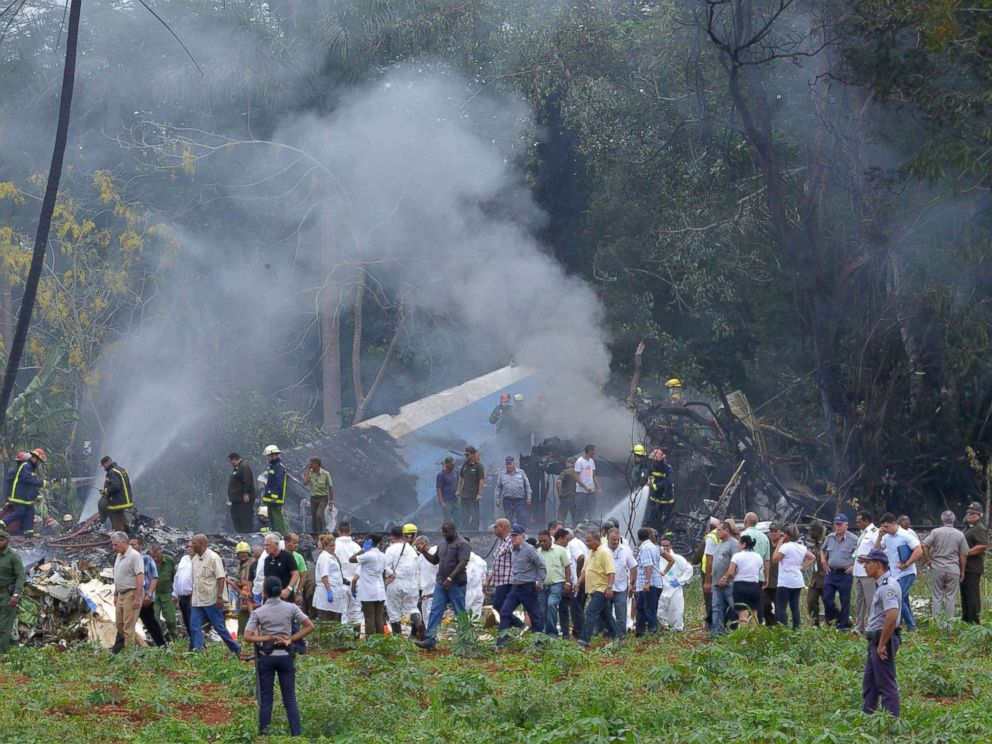 PHOTO: The scene where a Cubana de Aviacion aircraft crashed after taking off from Havanas Jose Marti airport, May 18, 2018 in Cuba.