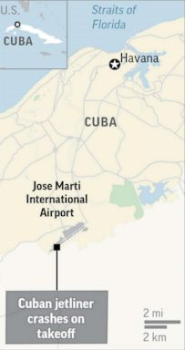 PHOTO: A map shows Jose Marti International Airport outside Havana, where a jetliner crashed on May 18, 2018.