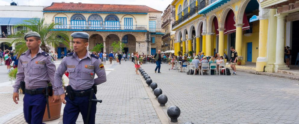 PHOTO: Cuban policemen patrol the Old Plaza, March 15, 2017, in Old Havana Cuba.