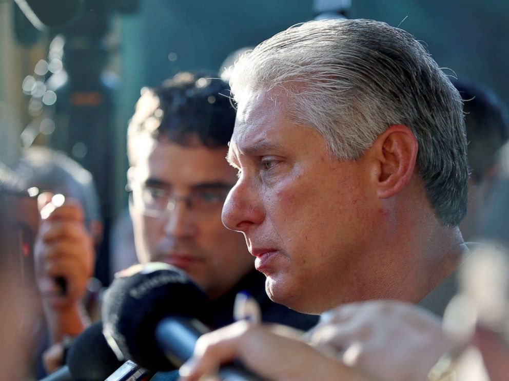 PHOTO: Cuban Vice President Miguel Diaz-Canel Bermudez talks to journalists at a polling station in Havana, Cuba, after casting his vote, Nov. 26, 2017.