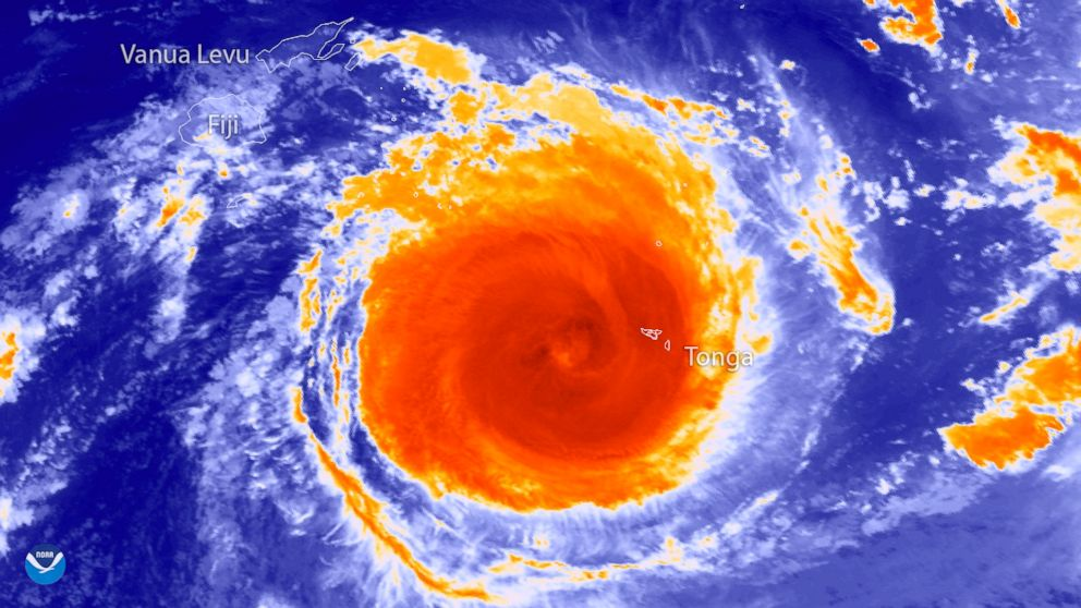 PHOTO: The Japan Meteorological Agencys Himawari-8 satellite captured this thermal infrared imagery of powerful Tropical Cyclone Gita in the South Pacific at 1550 UTC, Feb. 12, 2018.