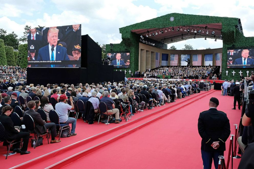 PHOTO: President Donald Trump speaks at the main ceremony to mark the 75th anniversary of the World War II Allied D-Day invasion of Normandy at Normandy American Cemetery on June 06, 2019, near Colleville-Sur-Mer, France.