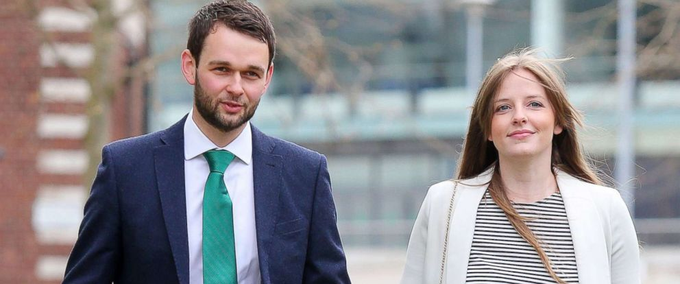 PHOTO: Daniel McArthur and wife Amy, who own Ashers Baking Company, are pictured entering the Royal Courts of Justice in Belfast, Northern Ireland, May 1, 2018.