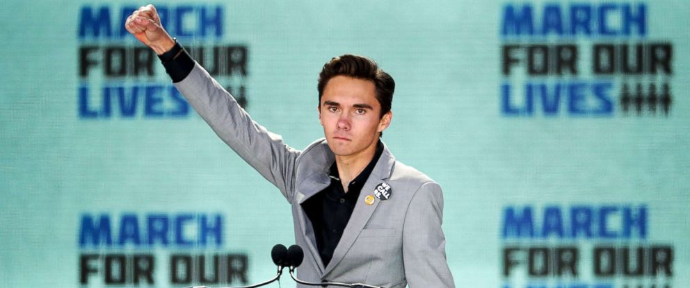 PHOTO: Marjory Stoneman Douglas High School Student David Hogg addresses the March for Our Lives rally on March 24, 2018, in Washington, D.C.