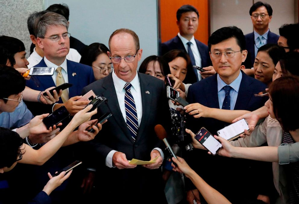 PHOTO: US Assistant Secretary of State for the Bureau of East Asian and Pacific Affairs David Stilwell speaks as South Koreas Deputy Foreign Minister for Political Affairs Yoon Soon-gu listens in Seoul, South Korea on July 17, 2019.