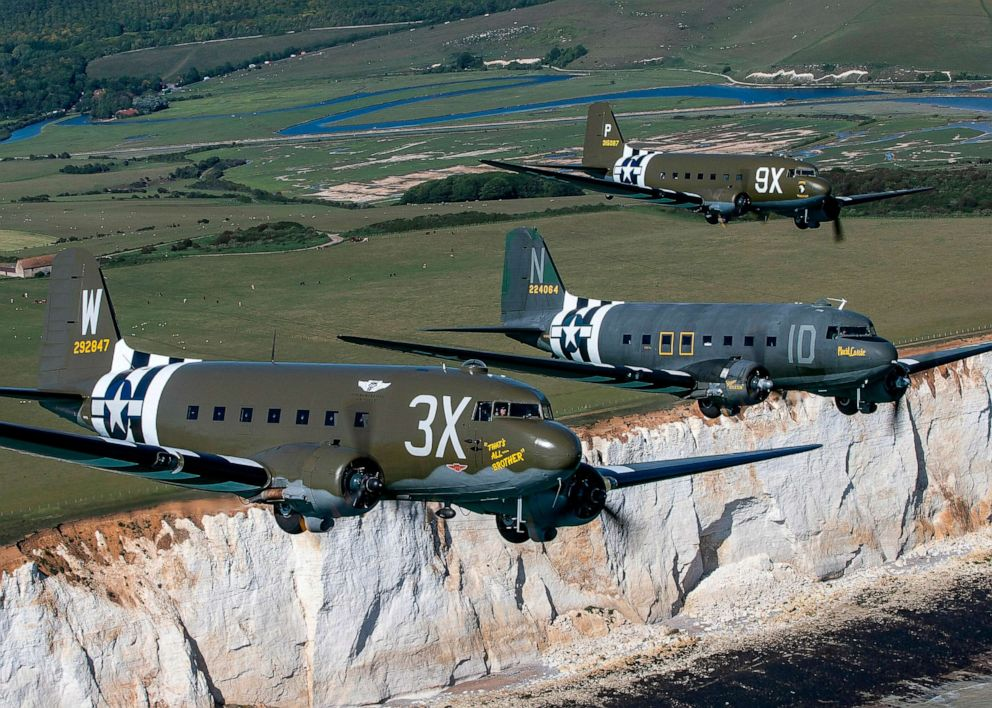 PHOTO: Daks fly over Normandy during event preparation at Beachy Head in southern England.