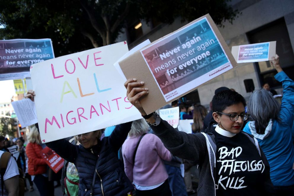 PHOTO: Protesters holds signs during a demonstration outside of the San Francisco office of the Immigration and Customs Enforcement, July 12, 2019, in San Francisco.