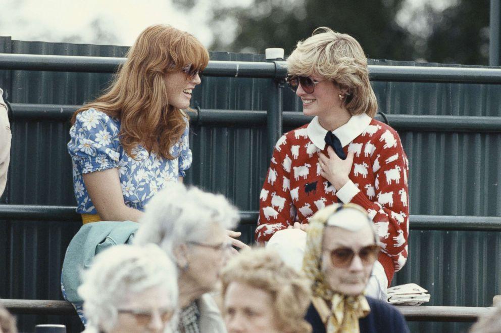 Diana, Princess of Wales with Sarah Ferguson at the Guard's Polo Club, Windsor, June 1983.