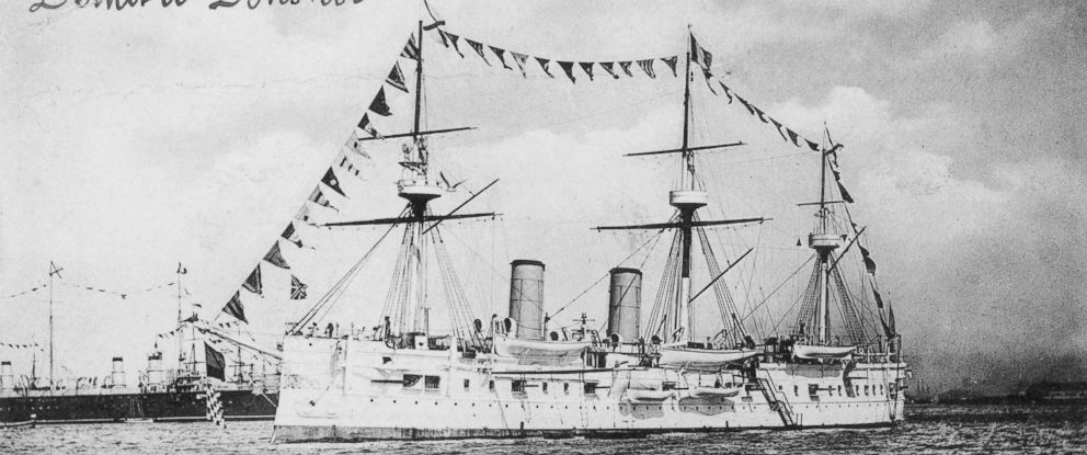 PHOTO: The Dmitrii Donskoi Armored Cruiser of the Imperial Russian Navy on Oct. 3, 1891 at anchor off Brest.
