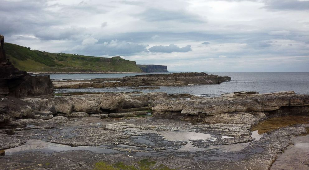 PHOTO: The tracksite looking towards Valtos and Kilt Rock Falls, along the coastline of the Isle of Skye in Scotland where numerous dinosaur footprints have been identified.