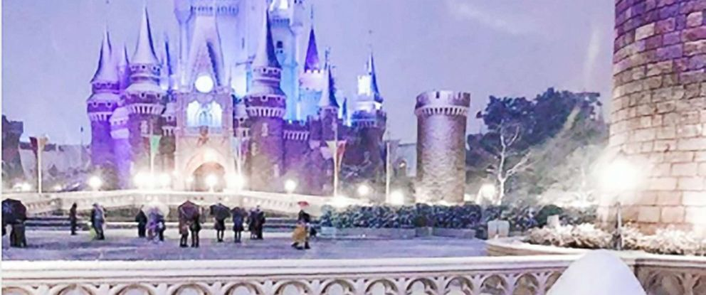 PHOTO: Tokyo is getting its heaviest snow in 4 years, blanketing Tokyo Disneyland with powder.